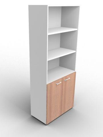 Quad 2140mm Bookcase With Low Doors Aluminium And Walnut