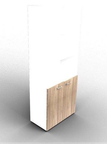 Quad 2140mm Bookcase With Low Doors White And Elm