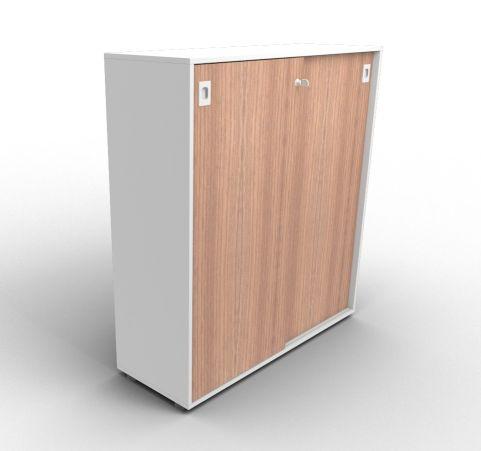 Quad 1310mm Aluminium And Walnut Sliding Door Cabinet
