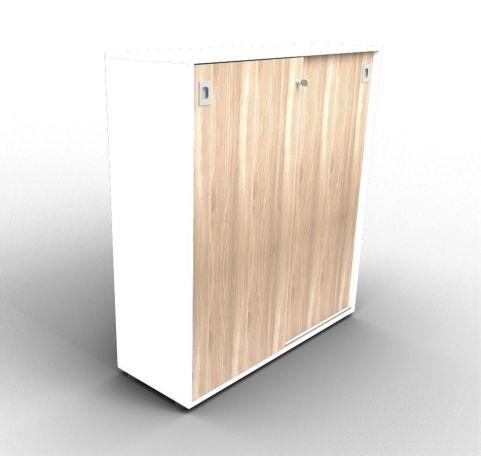 Quad 1310mm White And Elm Sliding Door Cabinet