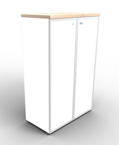 Quad 1310mm White Glass Cabinet With Frosted Glass Doors With Finishing Top