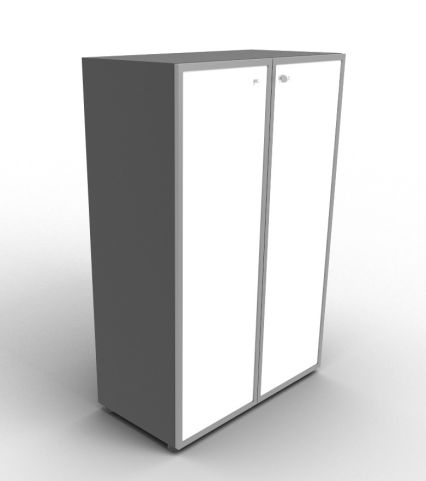 Quad 1310mm Anthracite Glass Cabinet With Frosted Glass Doors With Chrome Framing
