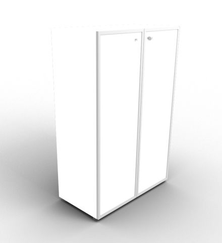 Quad 1310mm White Glass Cabinet With Frosted Glass Doors