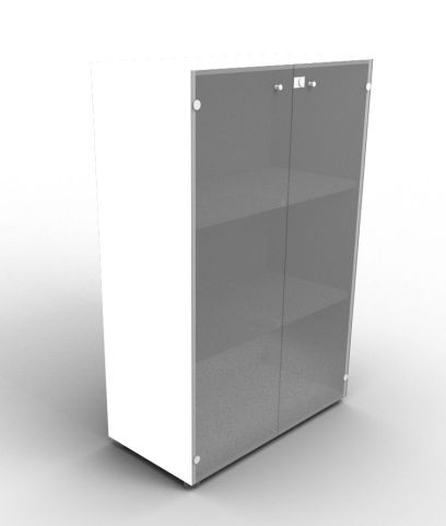 Quad 1310mm White Glass Cabinet With Smoke Glass Doors