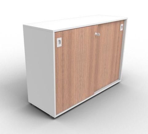 Quad Grey And Walnut Sliding Door Cabinet