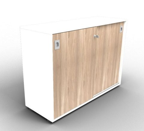 Quad White And Elm Sliding Door Cabinet