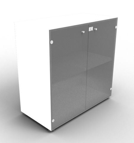Quad White Glass Cabinet With Smoke Glass Doors