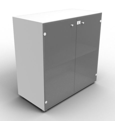 Quad Aluminium Glass Cabinet With Smoke Glass Doors