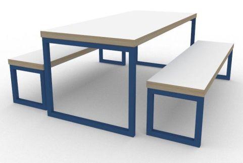 Trizle Bench Dining Set Blue