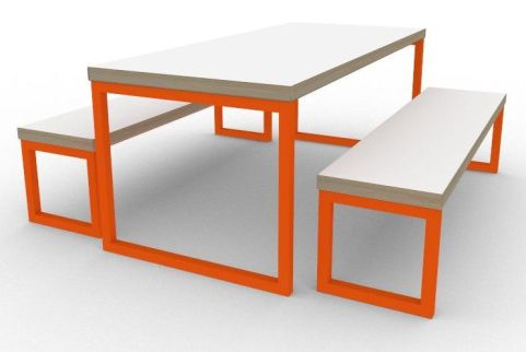 Trizle Bench Dining Set Orange