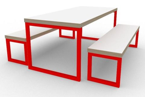 Trizle Bench Dining Set Red