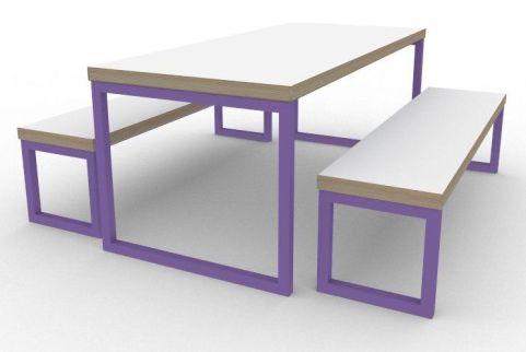 Trizle Bench Dining Set Violet