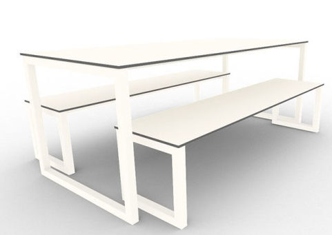 Trizle Outdoor Bench Dining Set White