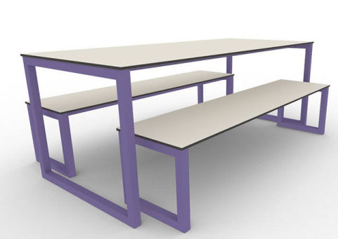 Trizle Outdoor Bench Dining Set Violet