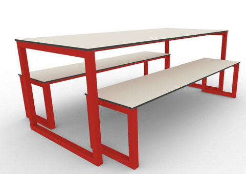 Trizle Outdoor Bench Dining Set Red