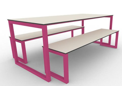 Trizle Outdoor Bench Dining Set Pink