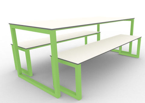 Trizle Outdoor Bench Dining Set Green