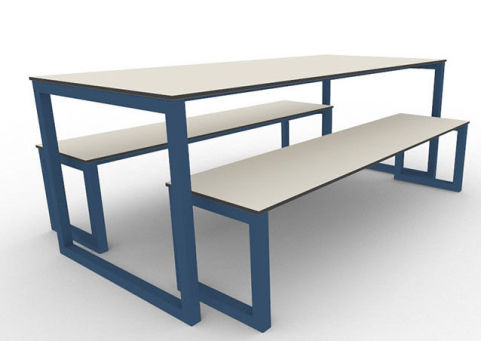 Trizle Outdoor Bench Dining Set Blue