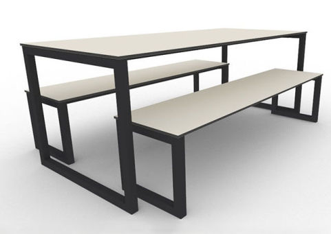 Trizle Outdoor Bench Dining Set Black