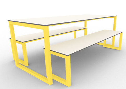 Trizle Outdoor Bench Dining Set Yellow