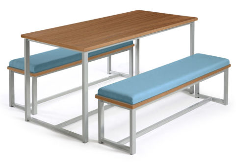 Autom Bench Dining Set Walnut And Blue