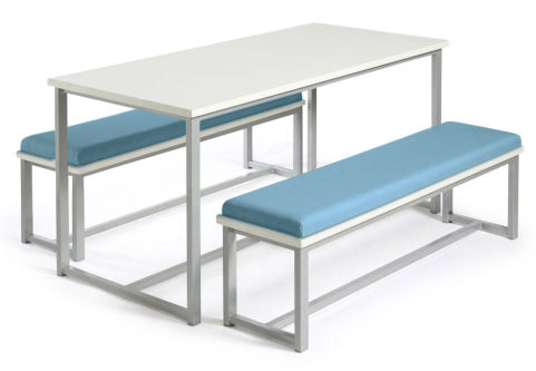 Autom Bench Dining Set White And Blue