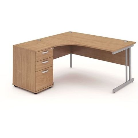 Solar Workstation Left Hand With Desk High Pedestal Oak