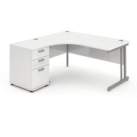 Solar Workstation Left Hand With Desk High Pedestal White