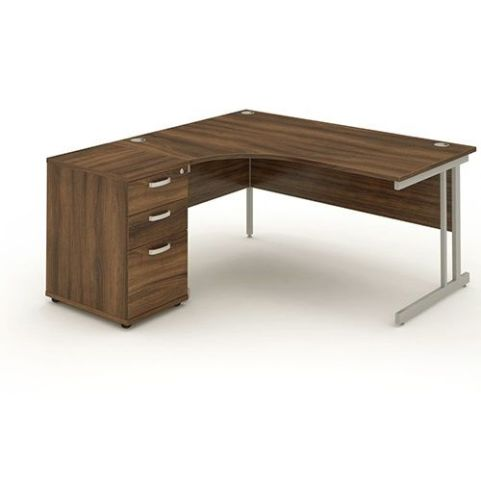 Solar Workstation Left Hand With Desk High Pedestal Walnut