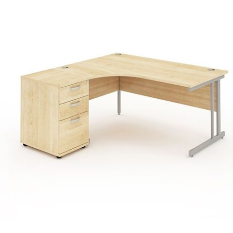 Solar Workstation Left Hand Desk With Desk High Pedestal Maple