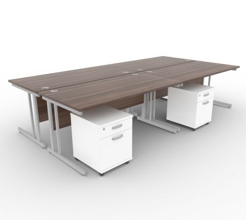 Solar Desk 4 Person Desk With Pedestals Walnut & White