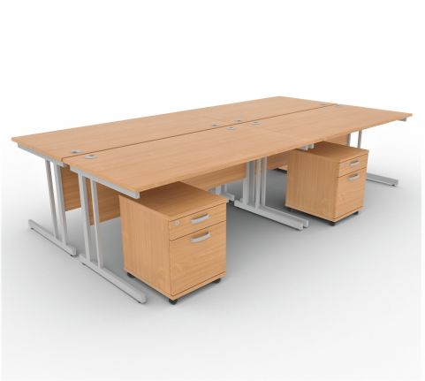 Solar Desk 4 Person Desk With Pedestals Beech