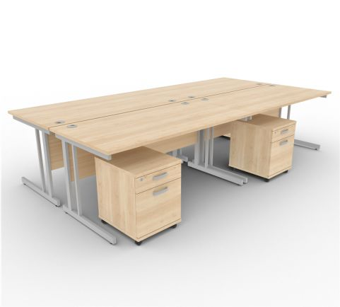 Solar Desk 4 Person Desk With Pedestals Maple