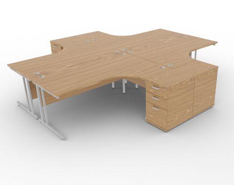 Solar Desk 4 Person Workstation Desk With Pedestals Oak
