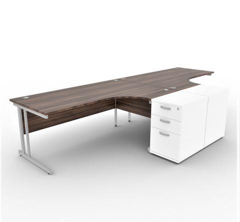 Solar Desk 2 Person Walnut Desk With White Pedestals