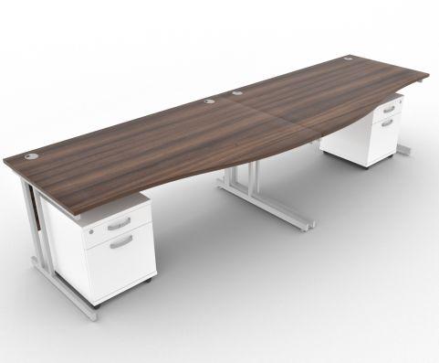 Solar Desk 2 Person Wave Desk 1600mm With Underdesk Pedestals