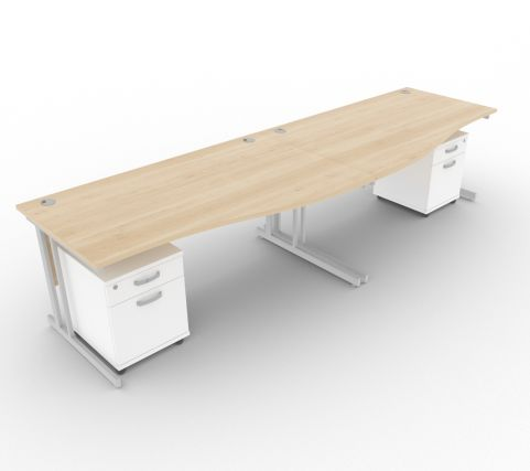 Solar Desk 2 Person Maple Wave Desk With White Pedestals