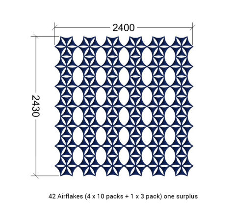 Airflake Screen Dimensions Example 2400mm