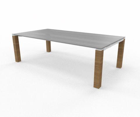 Grey Glass Top Liht Oak Legs