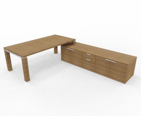 36mm Strream Executive Desk With Credenza Unit In Walnut Return Unit