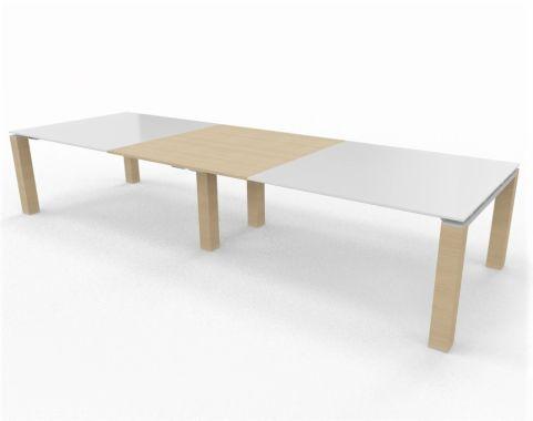 Stream Table Glass Wood Combination Light Oak White Glass