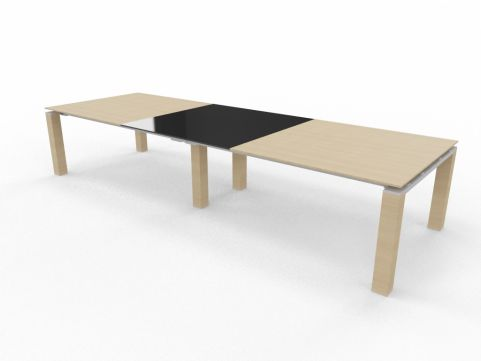 Boardroom Wood And Glass Table Lkight Oak Black Glass