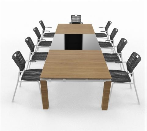 Boardroom Wood And Glass Table With Human Scale Chairs Seats 10 - 12