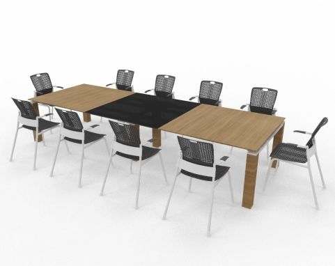 Boardroom Wood And Glass Table With Human Scale Chairs