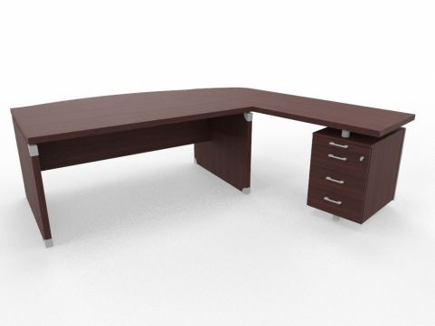 XPT 1800mm Panel Desk Top And Sides Caneletto Walnut Sides Right Hand Side Wenge