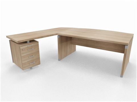 XPT 1800mm Panel Desk Top And Sides Caneletto Walnut Sides Left Hand Side