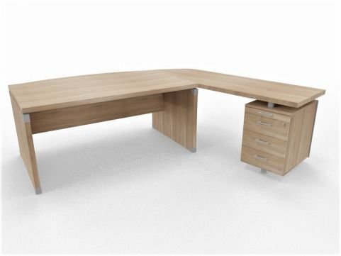 XPT 1800mm Panel Desk Top And Sides Caneletto Walnut Sides Left Hand Side - Copy