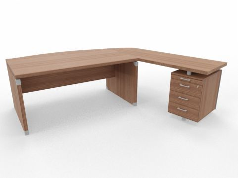 XPT 1800mm Panel Desk Top And Sides Caneletto Walnut Sides Right Hand Side With Drawers