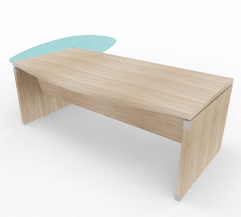 XPT 1800mm Panel Desk Top And Sides Right Hand Elm Glass Return Support Ped