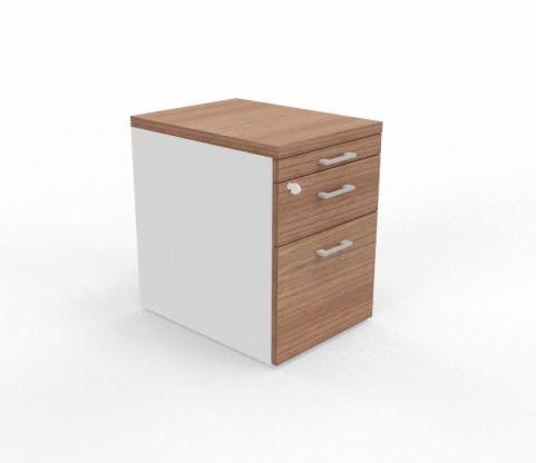 3 Drawer Pedestal White Sides Walnut